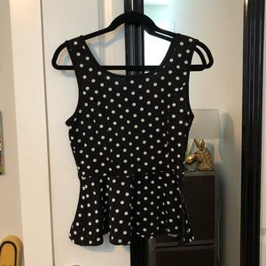 Peplum Black Polka-Dot Top